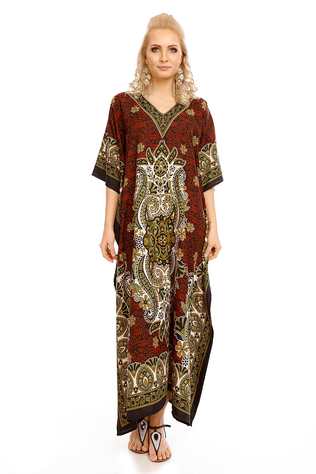 cb3a193827 Full Length Tribal Maxi Kaftan Cover Up Kimono - Red