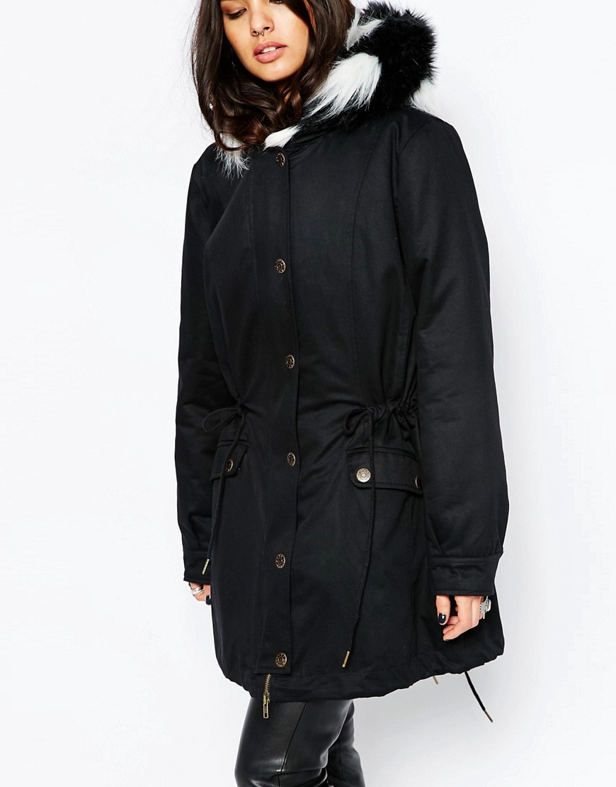 Black White Parka Coat With Faux Fur Hood and Trim