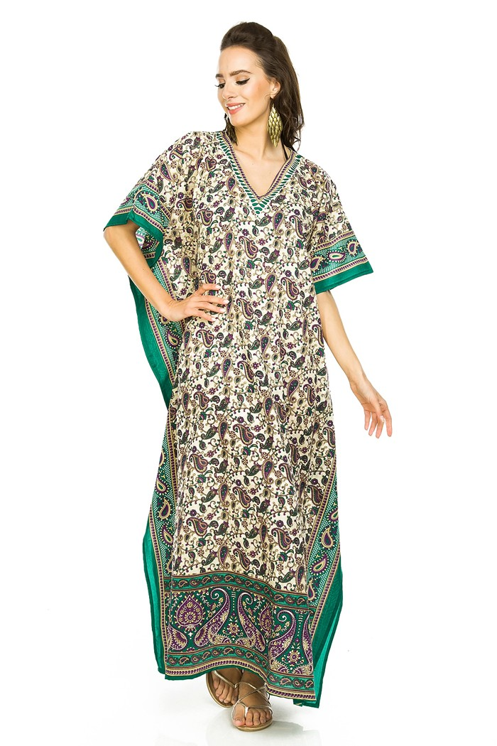 a471928816 Full Length Tribal Maxi Kaftan Long Cover Up Kimono - Green