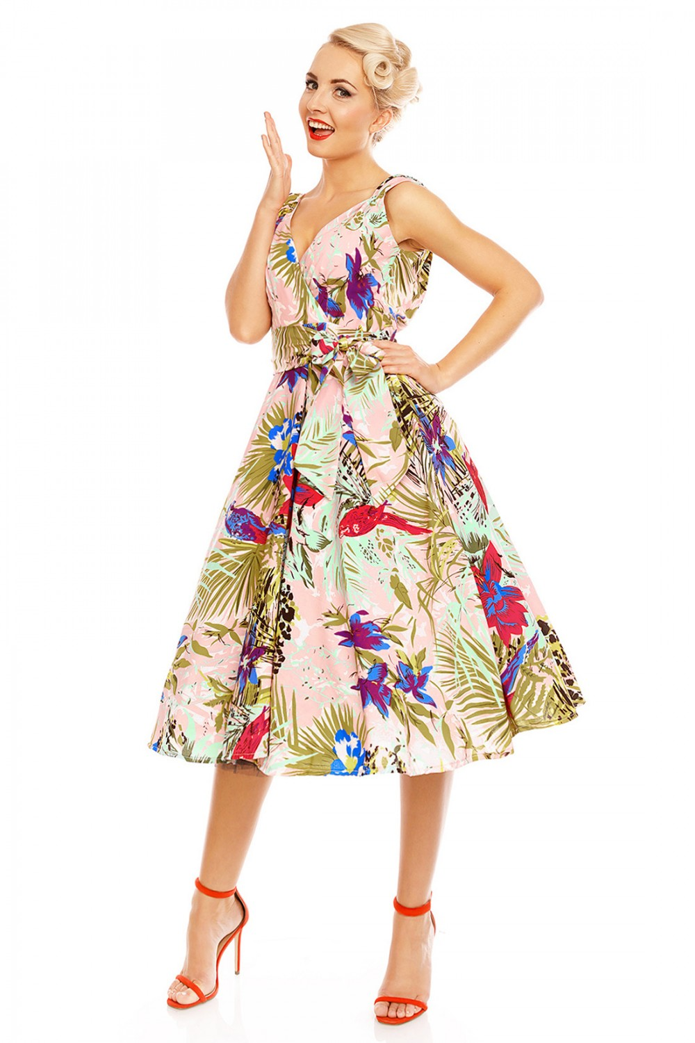 Retro Vintage 1950s Pink Tropical Bird Swing Dress