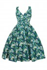 Ladies 1950's Mid Tie Retro Vintage Pin Up Rockabilly Prom Swing Palm Leaf Dress