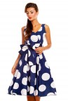 Ladies Retro Vintage Polka Navy 1950's Cross Over  Party  Dress