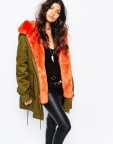 Ladies Faux Fur Khaki Parka Coat With Faux Fur Orange Trim