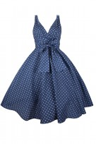 Plus Size Navy Polka Dot Ladies 50's Mid Tie Retro Vintage Dress