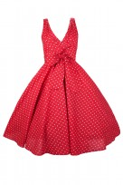 Plus Size Red Polka Dot Ladies 50's Mid Tie Retro Vintage Dress