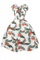 Ladies White Feather 40's 50's Vintage Retro Tea Cocktail Dress