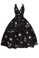Ladies Plus Size Retro Vintage Swing 1950's Cross Over Party Dress