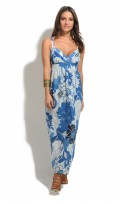 Ladies Full Length Summer Cotton Beige Maxi Dress