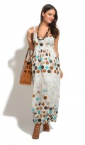 Ladies Full Length Summer Cotton Spotted Maxi Dress
