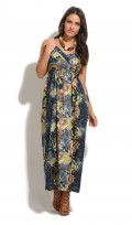 Ladies Full Length Summer Cotton Green Floral Maxi Dress