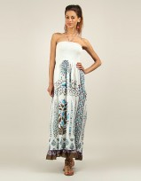Ladies Anmol Turq Summer Sleeveless Holiday Retro Maxi Dress