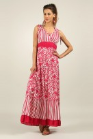 Ladies Anmol Red Summer Sleeveless Holiday Retro Maxi Dress