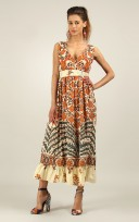 Ladies Anmol Orange Summer Sleeveless Holiday Retro Maxi Dress