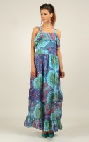 Ladies Anmol Blue Summer Sleeveless Holiday Maxi Dress