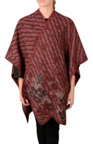 Ladies Cashmere Blend Poncho Wrap Cape Coat In Burgundy