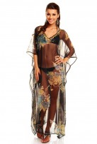 Ladies Full Length Black Green Maxi Beach Kaftan