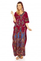 Ladies Full Length Over Sized Maxi Kimono Hooded Kaftan Gown Dress
