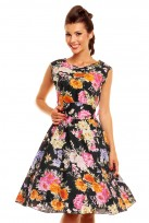 Black Floral Ladies 50's Audrey Hepburn Retro Vintage Dress