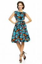 Ladies Floral Retro Crew Neck 1950's Prom Dress