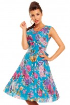 Blue Floral Ladies 50's Audrey Hepburn Retro Vintage Dress