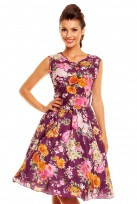 Purple Floral Ladies 50's Audrey Hepburn Retro Vintage Dress