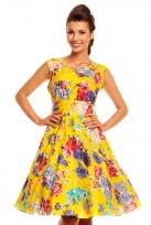 Yellow Floral Ladies 50's Audrey Hepburn Retro Vintage Dress
