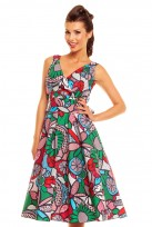 Green Pop Art Ladies 50's Retro Party Vintage Dress