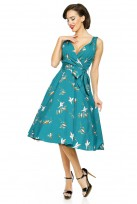 Teal Ladies 1950s Mid Tie Retro Vintage Swing Party Dress