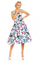 Retro Vintage 1950's Blue Butterfly Swing Dress