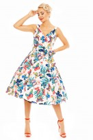 Retro Vintage 1950's Blue Red Butterfly Swing Dress