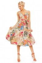 Retro Vintage 1950s Tropical Bird Swing Dress