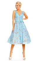 Retro Vintage 1950's Sky BlueSwallow Bird Swing Dress