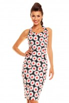 Ladies Black Red Diasy Vintage Retro 1940's Wiggle Pencil Halter Dress