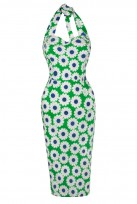 Ladies Green Diasy Vintage Retro 1940's Wiggle Pencil Halter Dress