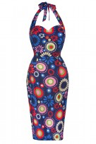 Ladies Blue Vintage Retro 1940's Wiggle Pencil Halter Dress
