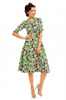 "Ladies Retro Vintage 1940's ""Maria"" Shirt Dress In Floral Print"