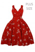 Plus Size Retro Vintage Swing 1950's Cross Over Red Swallow Bird
