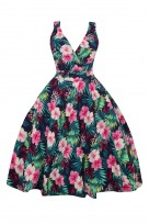 Retro Vintage Swing 1950's Floral Cross Over Party Dress