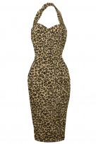 Ladies 1940's DARK BEIGE  Retro Vintage Halter Neck Wiggle Dress