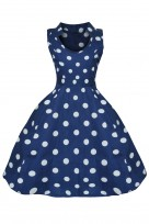 Kids Polka Dot Navy 40s 50s Vintage Collared Retro Party Dress
