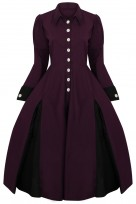 Ladies Edwardian Purple Vintage Retro Swing Victorian Coat Dress