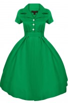Ladies Retro Collared Solid Green 1950's Party Summer Shirt Dress