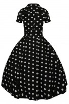 Ladies Retro Collared Polka Black 1950's Party Summer Shirt Dress