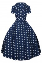 Ladies Retro Collared Polka Navy 1950's Party Summer Shirt Dress
