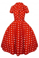 Ladies Retro Collared Polka  Red 1950's Party Summer Shirt Dress