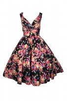 Black Floral Ladies 50's Mid Tie Retro Vintage Dress