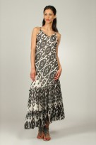 Ladies Anmol Cream Summer Sleeveless Holiday Retro Maxi Dress