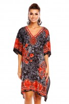 Ladies Plus Size Kimono Black Tribal Ethnic Print Tunic Kaftan