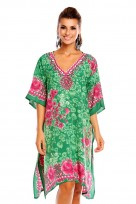 Ladies Plus Size Kimono Green Tribal Ethnic Print Tunic Kaftan