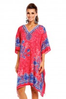 Ladies Plus Size Kimono Pink Tribal Ethnic Print Tunic Kaftan